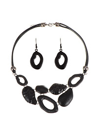 Exaggerate Black Hollow Out Design Short Chain Jewelry Sets
