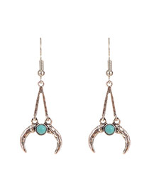 Personality Silver Color Metal Moon Shape Pendant Decorated Long Earrings