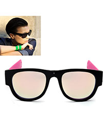 Vintage Multi-color Color Matching Decorated Simple Folding Sunglasses