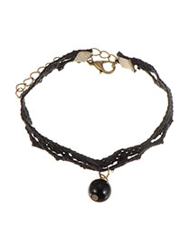 Sweet Black Pearl Pendant Decorated Hollow Out Lace Bracelet
