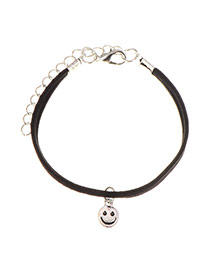 Sweet Silver Color Smiling Face Pendant Decorated Simple Bracelet