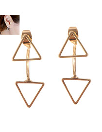 Sweet Gold Color Pure Color Decorated Double Triangle Shape Earring