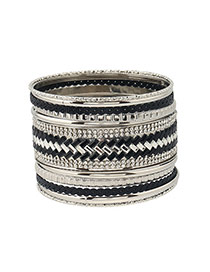 Personality Black+silver Color Geometric Shape Diamond Decorated Simple Bracelet
