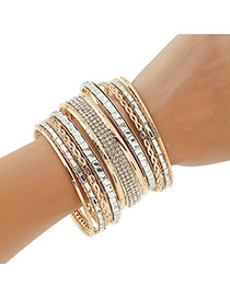 Luxury Gold Color Geometric Shape Diamond Decorated Simple Bracelet