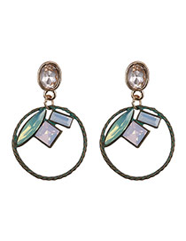 Fashion Green Square Shape Gemstone Decorated Round Shape Simple Earrings