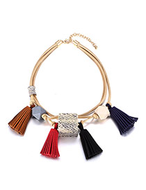 Fashion Multi-color Tassel Pendant Decorated Multi-layer Short Chain Necklace