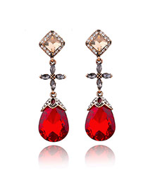 Vintage Red Waterdrop Shape Pendant Decorated Earrings