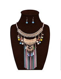 Retro Multi-color Diamond Decorated Tassel Short Chain Jewelry Sets