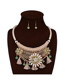 Exaggerate Beige Flower Decorated Hand Woven Jewelry Sets