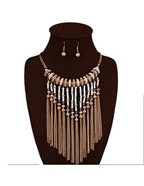 Exaggerate Coffee Tassel Decorated Short Chain Jewelry Sets