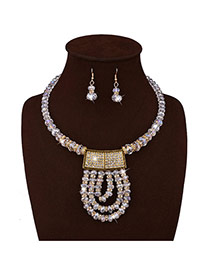 Vintage White Diamond Decorated Short Chain Jewelry Jewelry Sets