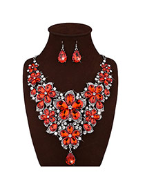Luxury Red Flower Decorated Short Chain Jewelry Sets