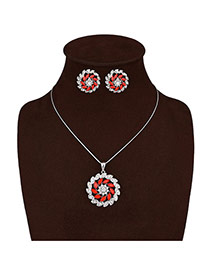 Elegant Silver Color Round Shape Pendant Decorated Long Chain Jewelry Sets