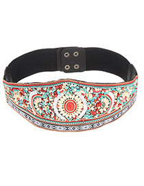 Vintage Multi-color Stone Weaving Flower Decorated Simple Belt