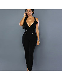 Sexy Black Pure Color Design V-neckline Sleeveless Jumpsuit
