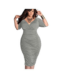 Sexy Gray Pure Color Design V-neckline Three-quaters Sleeve Dress