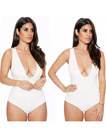 Sexy White Pure Color Decorated Deep V-neckline Bukini