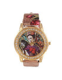 Fashion Light Brown Human Pattern&diamond Decorated Simple Watch