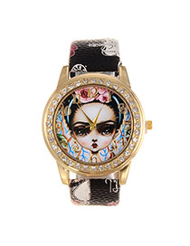Fashion Black Girl Dial Plate Decorated Crown Pattern Belt Watch
