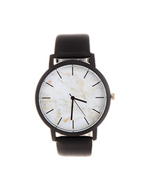 Trendy Gray+black Marble Shape Pattern Decorated Pure Color Strap Watch