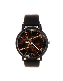 Trendy Coffee+black Marble Shape Pattern Decorated Pure Color Strap Watch