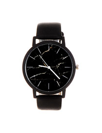 Trendy Dark Green+black Marble Shape Pattern Decorated Pure Color Strap Watch
