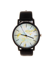 Trendy Multi-color Marble Shape Pattern Decorated Pure Color Strap Watch