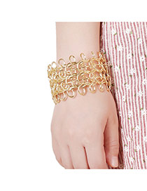 Elegant Gold Color Pure Color Decorated Hollow Out Design Wide Opening Bracelet