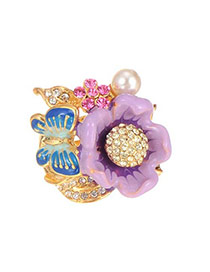 Lovely Purple Flower&butterfly&pearl Decorated Simple Ring