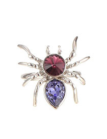 Lovely Multi-color Water Drop Shape Diamond Decorated Spider Shape Ring