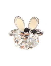Trendy Silver Color Oval Shape Diamond Decorated Rabbit Shape Ring