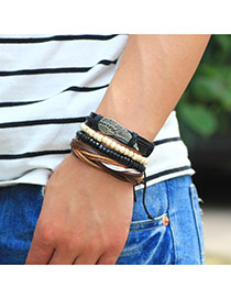 Personality Black Meatl Wing Decorated Hand-woven Multilayer Bracelet