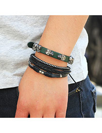 Personality Green+black Skull&rivat Decorated Hand-woven Multilayer Bracelet
