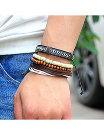 Vintage Coffee Hand-woven Design Simple Multilayer Bracelet
