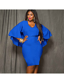 Sexy Blue Pure Color Decorated Batwing Sleeve V Neckline Tight Dress