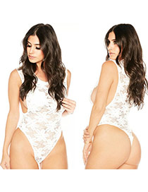 Sexy White Hollow Out Lace Flower Decorated Transparent Harness Pajamas