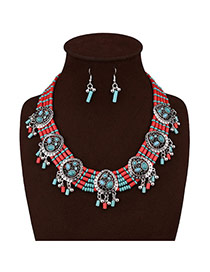 Vintage Green Hollow Out Pendant Decorated Multilayer Jewelry Sets
