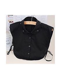 Fashion Black Pure Color Decorated T Shirt Shape Collar