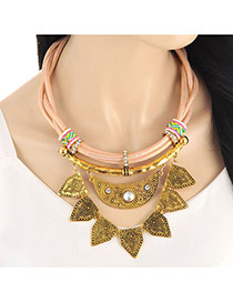 Fashion Gold Color Geometric Shape Pendant Decorated Multi-layer Collar Necklace