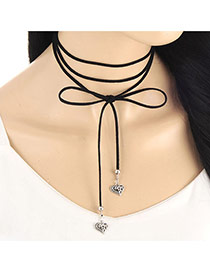 Fashion Silver Color Hollow Out Heart Shape Pendant Decorated Multi-layer Necklace