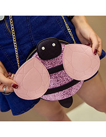 Cute Pink Color Matching Decorated Bee Shape Shoulder Bag