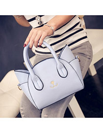 Cute Blue Cat Shape Decorated Regular Geometric Shoulder Bag