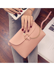 Sweet Pink Metal Chain Decorated Simple Pure Color Shoulder Bag