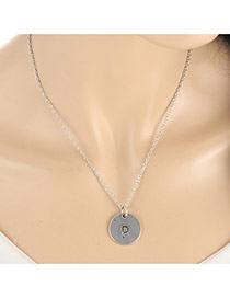 Fashion Silver Color Letter P&round Pendant Decorated Simple Necklace