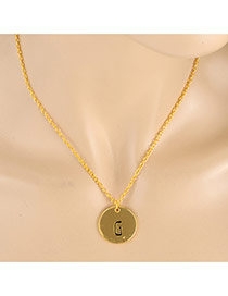 Fashion Gold Color Letter G&round Pendant Decorated Simple Necklace