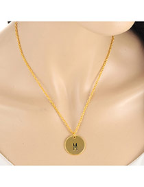 Fashion Gold Color Letter M&round Pendant Decorated Simple Necklace