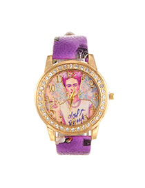 Vintage Purple Girl Pattern&diamond Decorated Pure Color Strap Watch