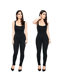 Sexy Black Condole Belt Decorated Sleeveless Pure Color Simple Jumpsuits
