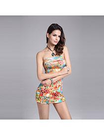 Sexy Orange Flower Pattern Decorated Strapless Simpel Short Dress