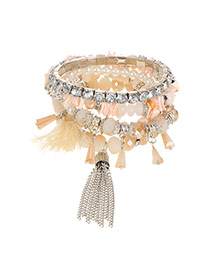 Elegant Beige Beads&chain Tassel Pendant Decorated Multilayer Bracelet